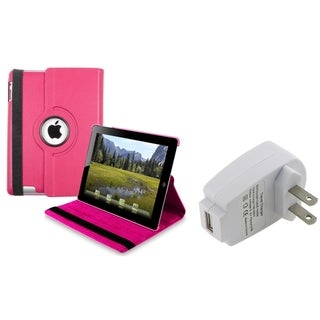 BasAcc Hot Pink Swivel Case/ Travel Charger Adapter for Apple iPad 3/ 4