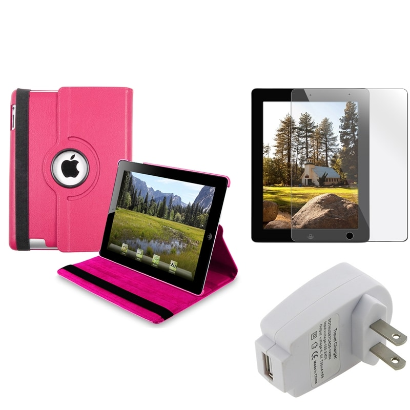 BasAcc Hot Pink Swivel Case/ Protector/ Travel Charger for Apple iPad 3/ 4