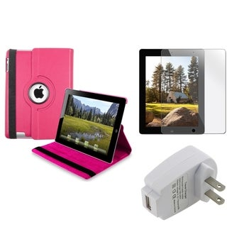 Hot Pink Swivel Case/ Protector/ Travel Charger for Apple iPad 3