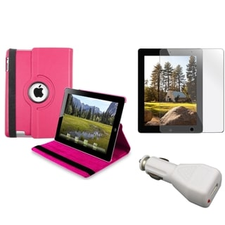 INSTEN Hot Pink Swivel Tablet Case Cover/ Protector/ Car Charger for Apple iPad 3/ 4