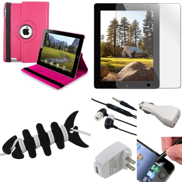 BasAcc Hot Pink Case/ Protector/ Headset/ Chargers/ Stylus for Apple iPad 3/ 4