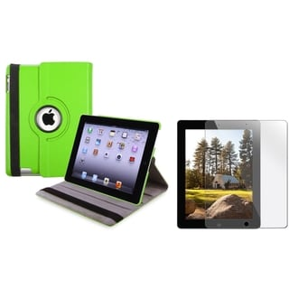 Green Leather Swivel Case/ Screen Protector for Apple iPad 3