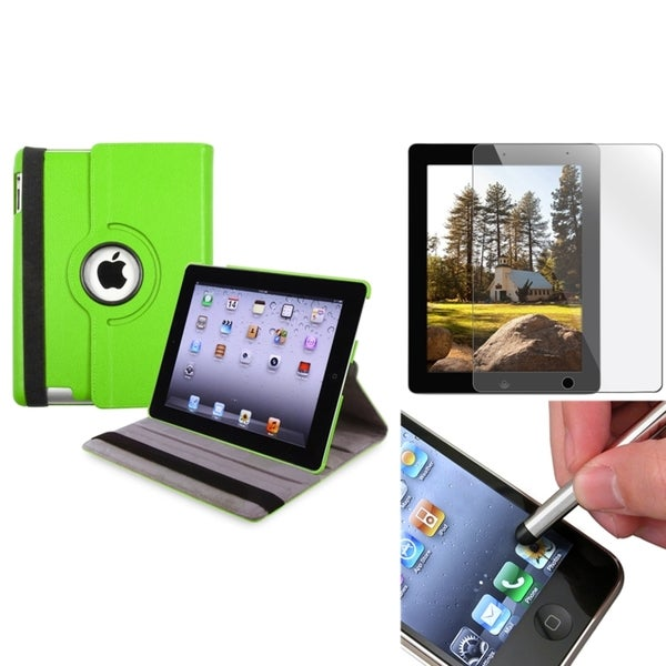 INSTEN Green Swivel Tablet Case Cover/ Screen Protector/ Silver Stylus for Apple iPad 3