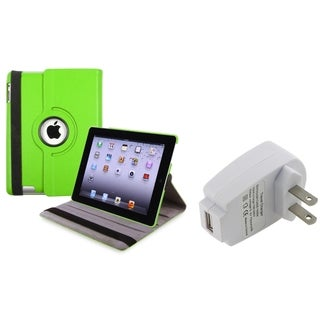 Green Swivel Case/ Travel Charger Adapter for Apple iPad 3