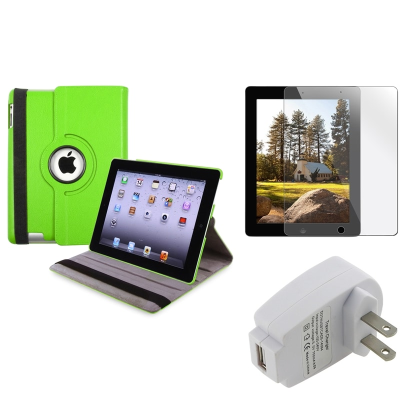 Green Swivel Case/ Protector/ Travel Charger for Apple iPad 3