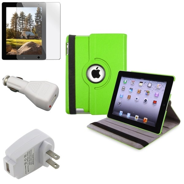INSTEN Green Swivel Tablet Case Cover/ Protector/ Travel/ Car Charger for Apple iPad 3