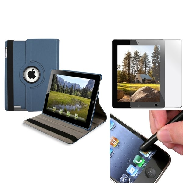 Navy Blue Swivel Case/ Screen Protector/ Black Stylus for Apple iPad 3