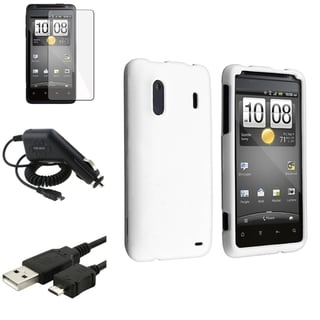 White Case/Screen Protector/Charger/Cable Bundle for HTC EVO Design 4G