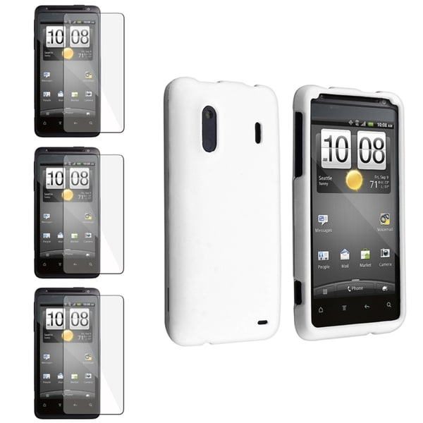 INSTEN White Rubber Coated Phone Case Cover/ Screen Protector for HTC EVO Design 4G