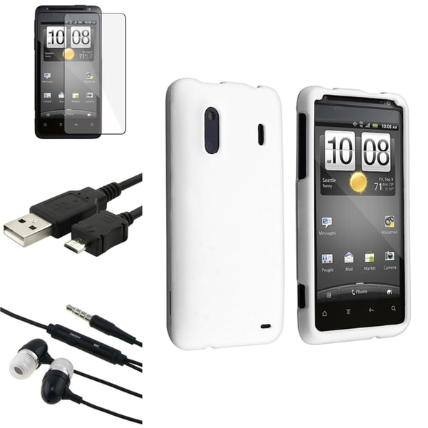 INSTEN White Phone Case Cover/ Screen Protector/ Headset/ Cable for HTC EVO Design 4G