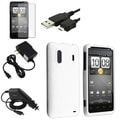 White Rubber Case/Screen Protector/Chargers/Cable for HTC EVO Design 4G