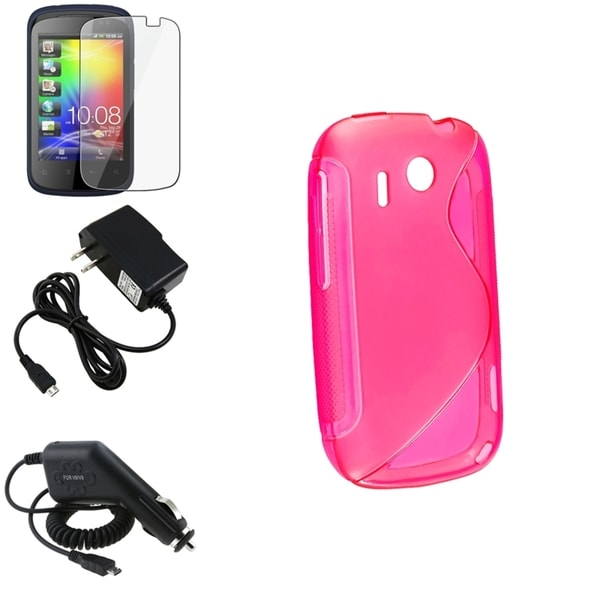 Hot Pink Case/ Screen Protector/ Chargers for HTC Explorer