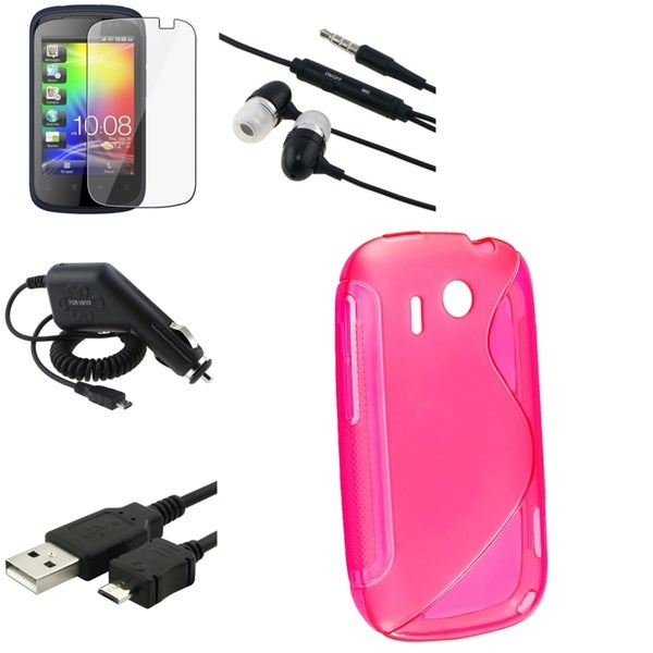 Hot Pink Case/ Cable/ Protector/ Charger/ Headset for HTC Explorer