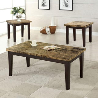 3-piece Espresso Marble Finish Cocktail End Tables Set