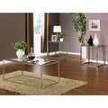 3-piece High Gloss Chrome Finish Cocktail End Tables Set