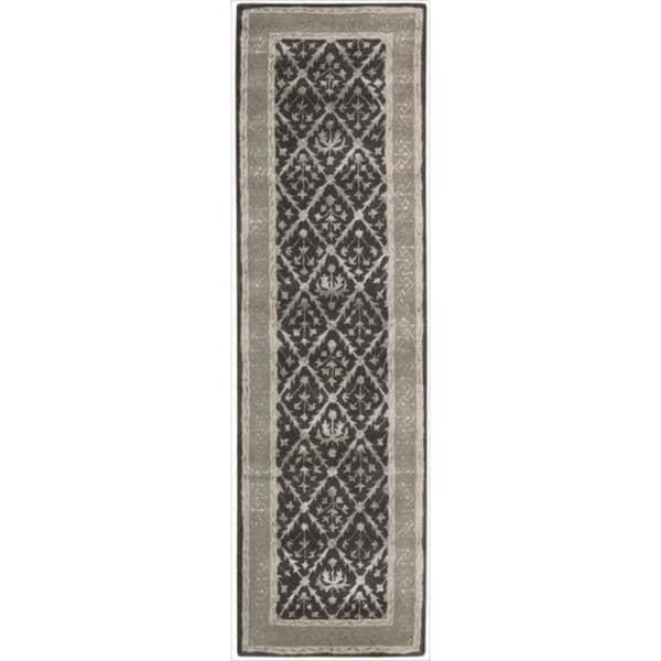 Nourison Hand-tufted Symphony Diamond Pattern Charcoal Rug (2'3 x 8')