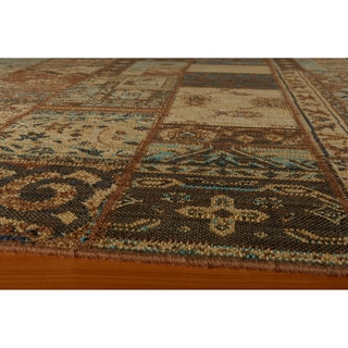 Hand-sheared Patchwork Brown Wool Rug (2'7 x 4'7)
