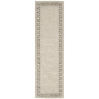 Nourison Hand-tufted Symphony Brocade Bordered Sand Rug (2'3 x 8')