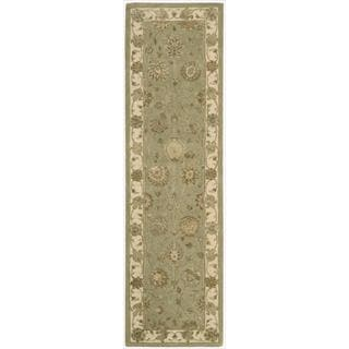Nourison 3000 Hand-tufted Green Rug (2'6 x 12') Runner
