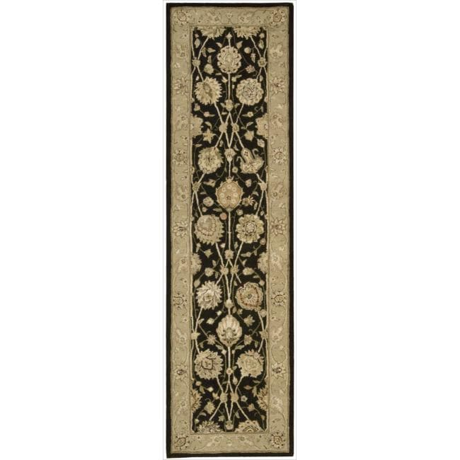 Nourison 3000 Hand-tufted Black Rug (2'6 x 12') Runner