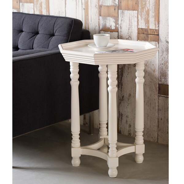 White Spool Leg Octagon End Table