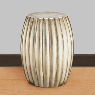 Artisan Silver Leaf Drum Accent Table