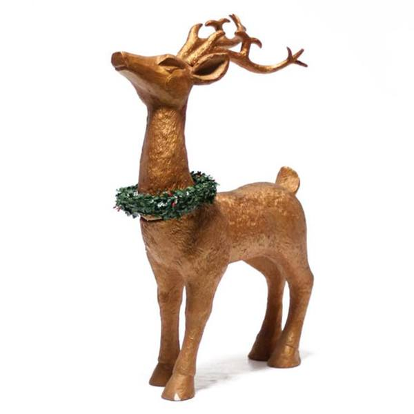 30-inch Goldtone Reindeer Statue