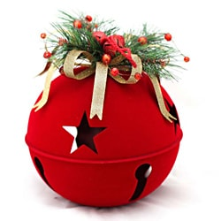 Red 10-inch Flocked Bell