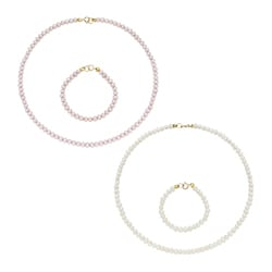 Pearlyta 14k Gold Cultured Pearls Kid's Set