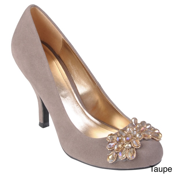 Journee Collection Women's 'Erin' Sueded Round Toe Embellished Pumps