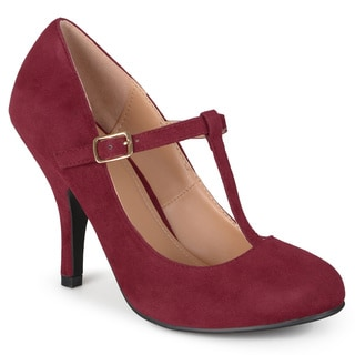 Journee Collection Women's 'Lisa' Sueded T-strap Round Toe Pumps