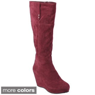 Journee Collection Women's 'Trish' Sueded Tall Wedge Boots