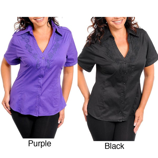 Stanzino Women's Embroidered Plus Size Top
