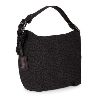 M by Miadora Black 'Tara' Leopard Print Hobo Bag