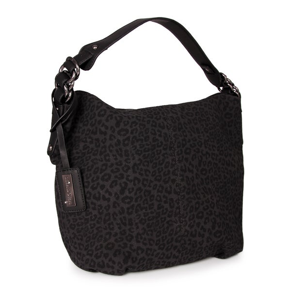 M by Miadora Black 'Tara' Leopard Print Hobo Bag