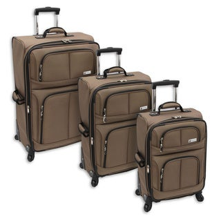 London Fog Nottingham Mocha 360 Spinner Expandable 3-piece Luggage Set