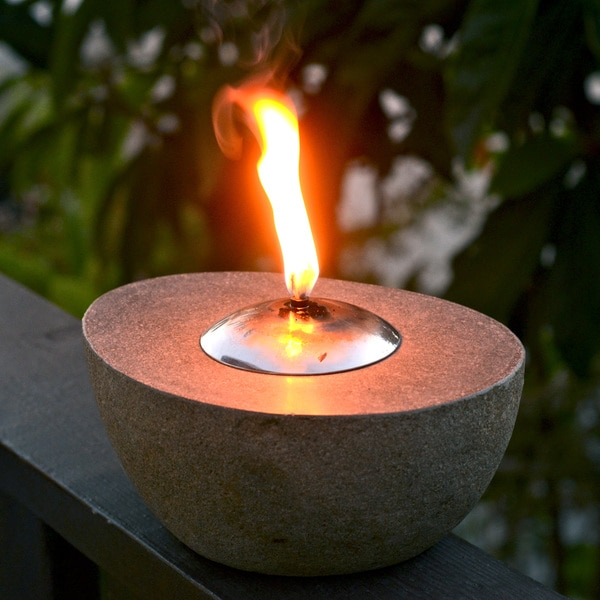 Natural River Stone Carved Oil Lamp, Handmade in Indonesia