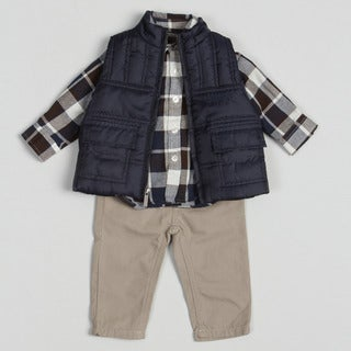 Kenneth Cole Infant Boy's Plaid 3-piece Pant Set
