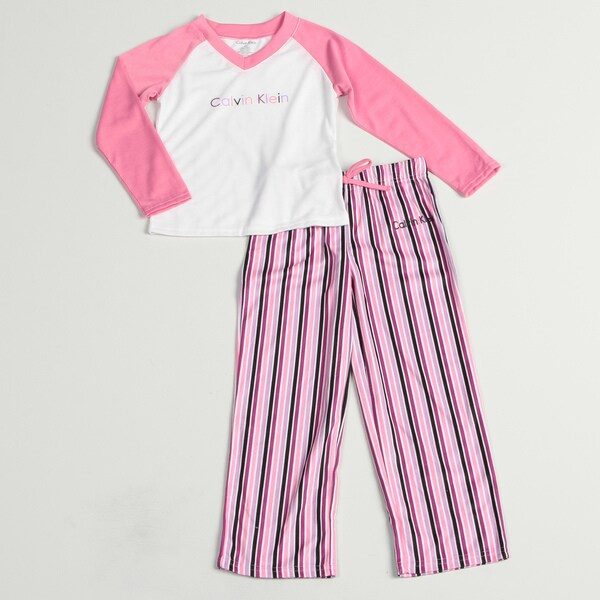 Calvin Klein Girl's Pink/ White Sleepwear Set