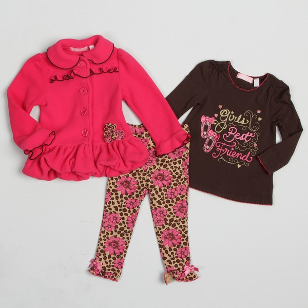 Kids Headquarters Girl's (4-6X) Leopard and Floral Print 3-piece Set FINAL SALE