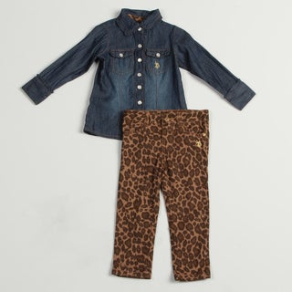 US Polo Toddler Girls' 2-piece Denim Buttton Up Leopard Print Pants Set