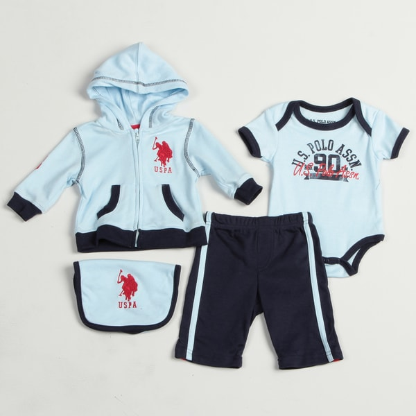 US Polo Newborn Boy's 4-piece Bodysuit Set