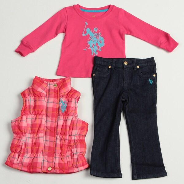 US Polo Toddler Girl's 3-piece Shirt, Plaid Vest and Denim Pant Set FINAL SALE