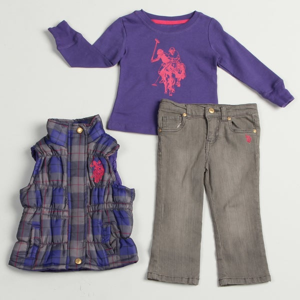 US Polo Toddler Girl's 3-piece Shirt, Vest and Jean Set