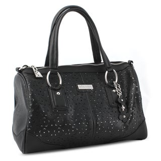 Miadora 'Connie' Black Laser-cut Satchel