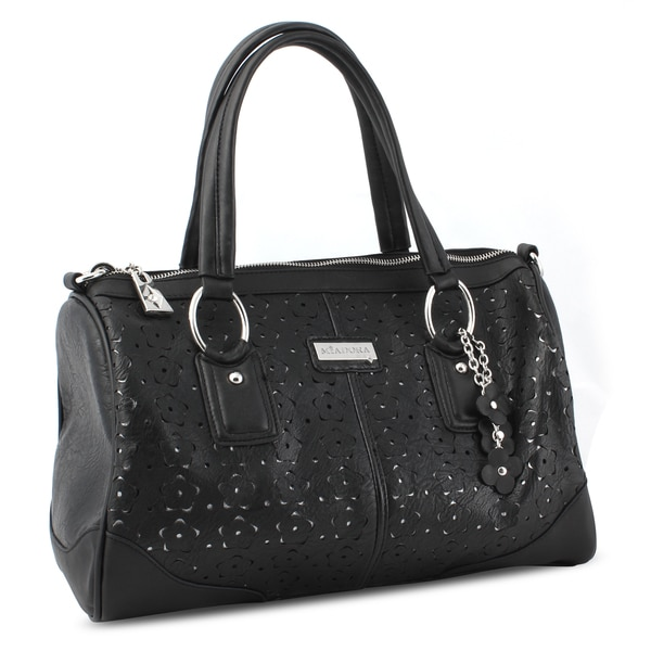 M by Miadora 'Connie' Black Laser-cut Satchel