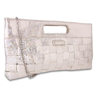 M by Miadora 'Jenni' Oversized Silver Metallic Clutch