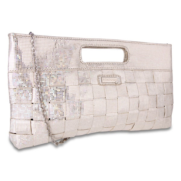 M by Miadora 'Jenni' Oversized Silver Metallic Clutch