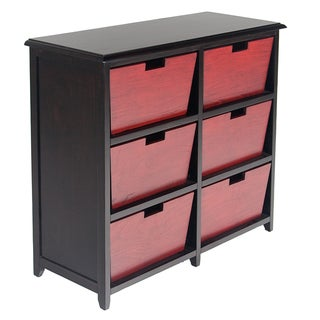 La Jolla Red and Black 6-drawer Console