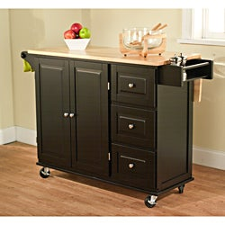 Black/ Natural Aspen 3-drawer Kitchen Cart